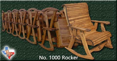 Item 1000 Rocker, Outdoor Wood Furniture from Sawdust and Splinters. Made in Gatesville, Texas USA!