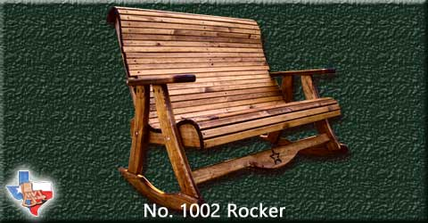 Item 1002 Rocker, Outdoor Wood Furniture from Sawdust and Splinters. Made in Gatesville, Texas USA!