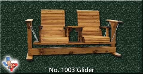 "An adult wooden glider, seats two in two 24 ""  wide seats from Sawdust and Sprinters Wood Outdoor Furniture made in Gatesville, TX USA!"