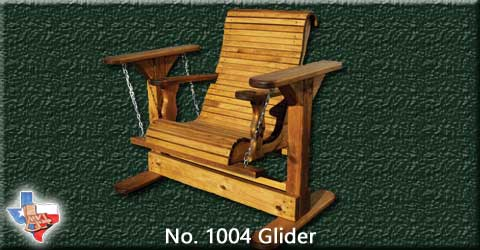 An adult wooden glider, seats one, from Sawdust and Sprinters Wood Outdoor Furniture made in Gatesville, TX USA!