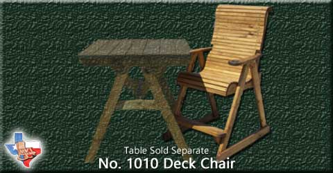 Item 1010 Chair-Deck, Outdoor Wood Furniture from Sawdust and Splinters. Made in Gatesville, Texas USA!