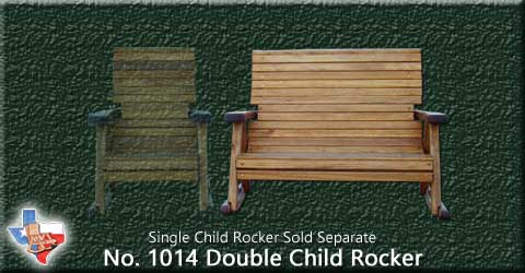 Item 1014 Rocker-Child, Outdoor Wood Furniture from Sawdust and Splinters. Made in Gatesville, Texas USA!