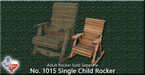 Item 1015 Rocker-Child, Outdoor Wood Furniture from Sawdust and Splinters. Made in Gatesville, Texas USA!