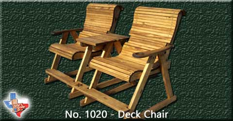 Item 1020 Chair Deck, Outdoor Wood Furniture from Sawdust and Splinters. Made in Gatesville, Texas USA!