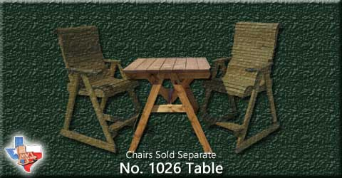 A adult Deck Table from Sawdust and Sprinters Wood Outdoor Furniture made in Gatesville, TX USA!