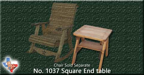 "A wooden square End Table, 24 ""  Tall from Sawdust and Sprinters Wood Outdoor Furniture made in Gatesville, TX USA!"