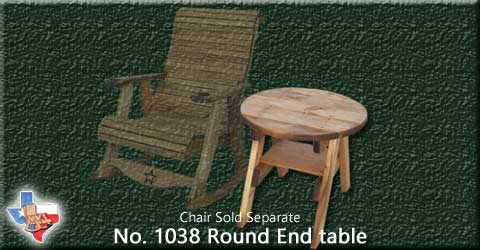 "A wooden round End Table, 24 ""  Tall from Sawdust and Sprinters Wood Outdoor Furniture made in Gatesville, TX USA!"